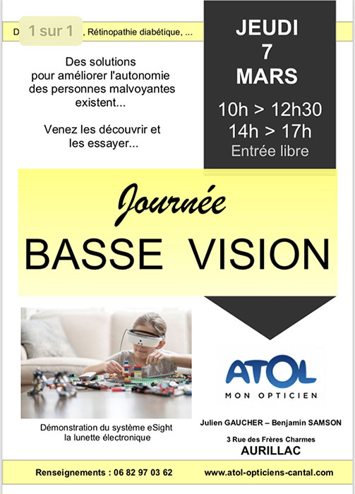 98100c4a30edb Journée Basse Vision - Atol les Opticiens Cantal